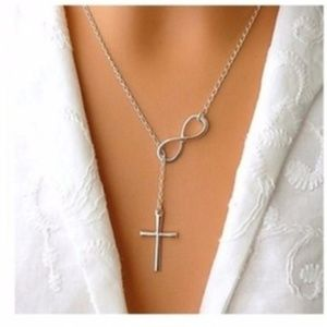 Beautiful Silver Infinity Cross Necklace